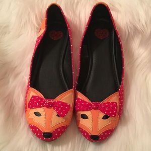 TUK Fox Orange Red Polka Dot Bow Ballet Flats